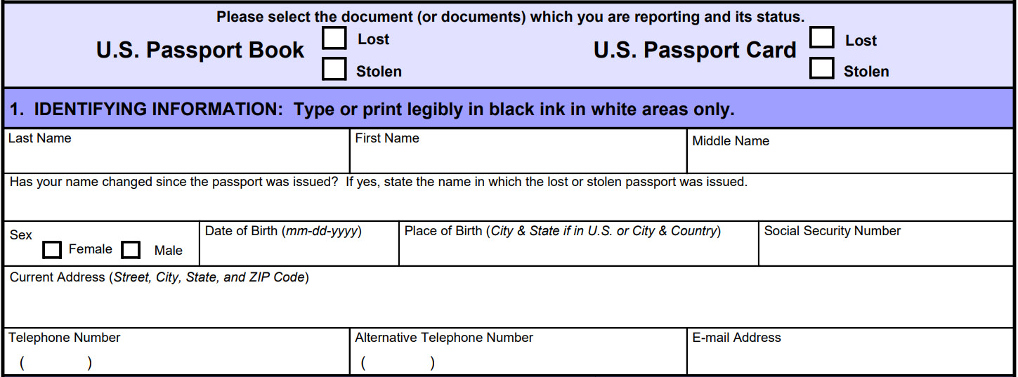 Ds Application For Lost Or Stolen Passport