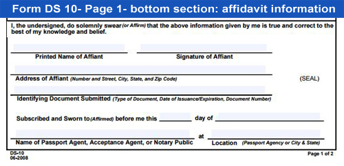 Ds Birth Affidavit Passport Form