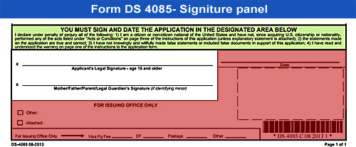 Form DS-4085-signiture panel