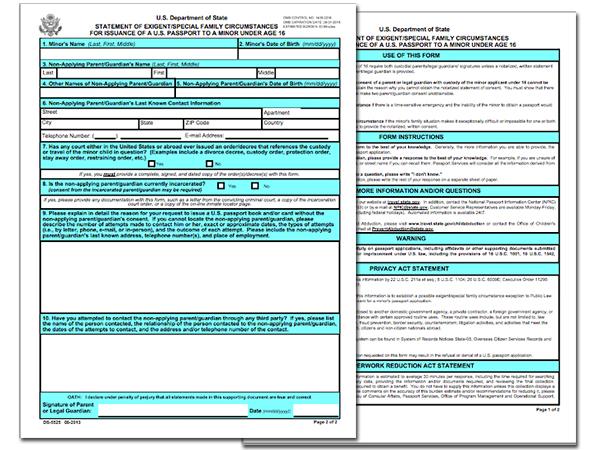 U.S. Passport Form DS-5525