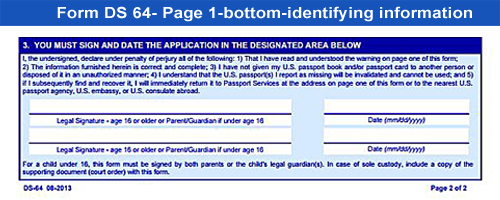 Form DS-64-lost or stolen passport-bottom