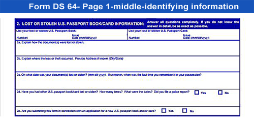 Form DS-64-lost or stolen passport-middle