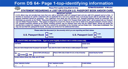 Form DS-64-lost or stolen passport-top