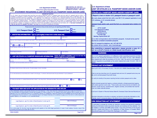 DS-64 Application for Lost or Stolen Passport