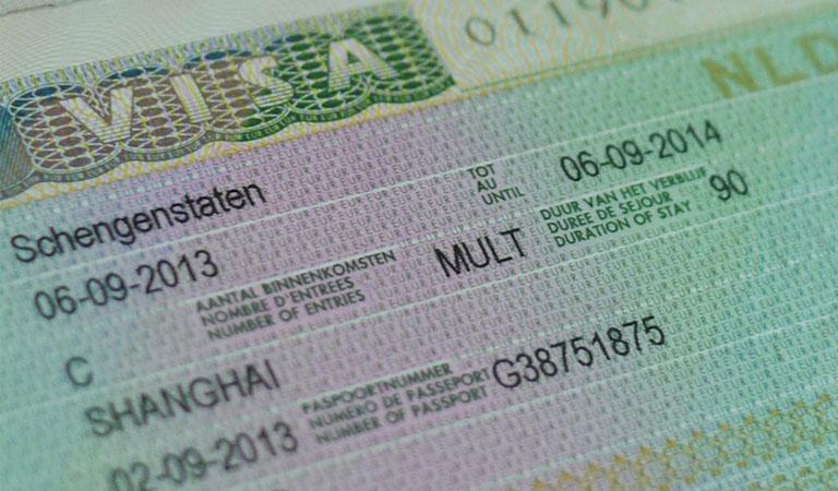 A close-up of a Uniform Schengen Visa