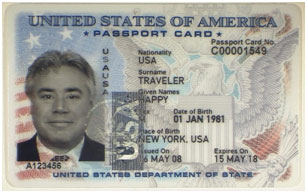 A photo of a passport card